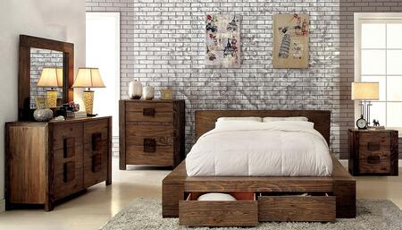 Janeiro Collection CM7629KSBDMCN 5-Piece Bedroom Set with King Storage Bed  Dresser  Mirror  Chest and Nightstand in Rustic Natural Tone