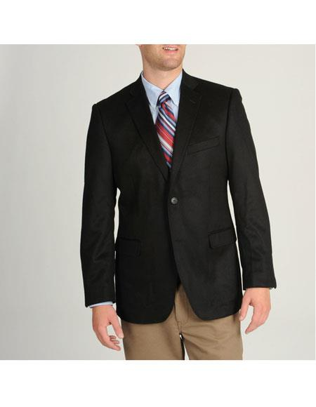 Men's Single Breasted 1 Button Black Cashmere Sportcoat Blazer