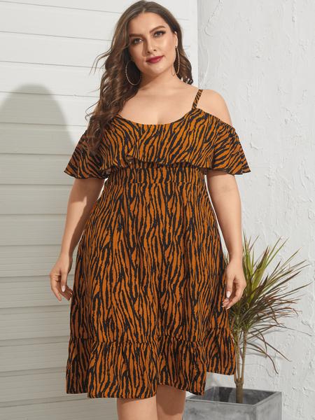 YOINS Plus Size Cold Shoulder Animal Short Sleeves Midi Dress