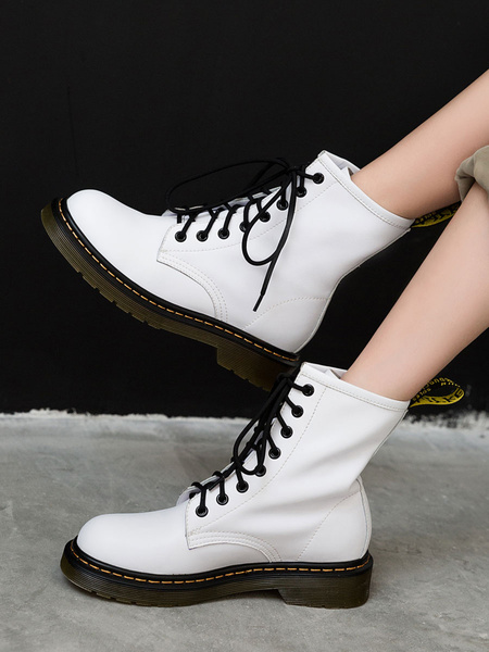 Milanoo Women Cowhide Leather Combat Boots Lace Up Flat Booties