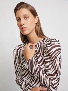 Gigot Sleeve Ruched Zebra Stripe Dress