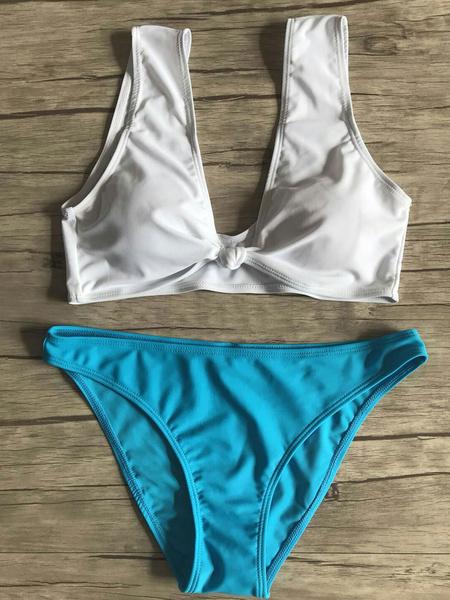 Milanoo Sexy Bikini Swimsuit Sleeveless Knotted Two Tone Low Waist Women Beach Bathing Suit