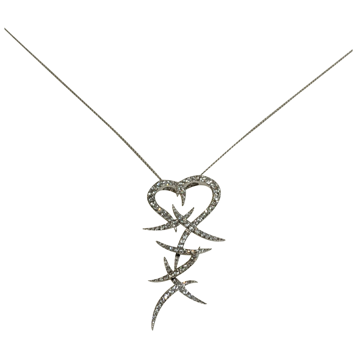 Non Signé / Unsigned Motifs Coeurs White White gold necklace for Women N