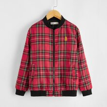 Boys Embroidered Detail Plaid Bomber Jacket