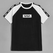 T-Shirt mit Raglan Ärmeln, Farbblock und Buchstaben Grafik