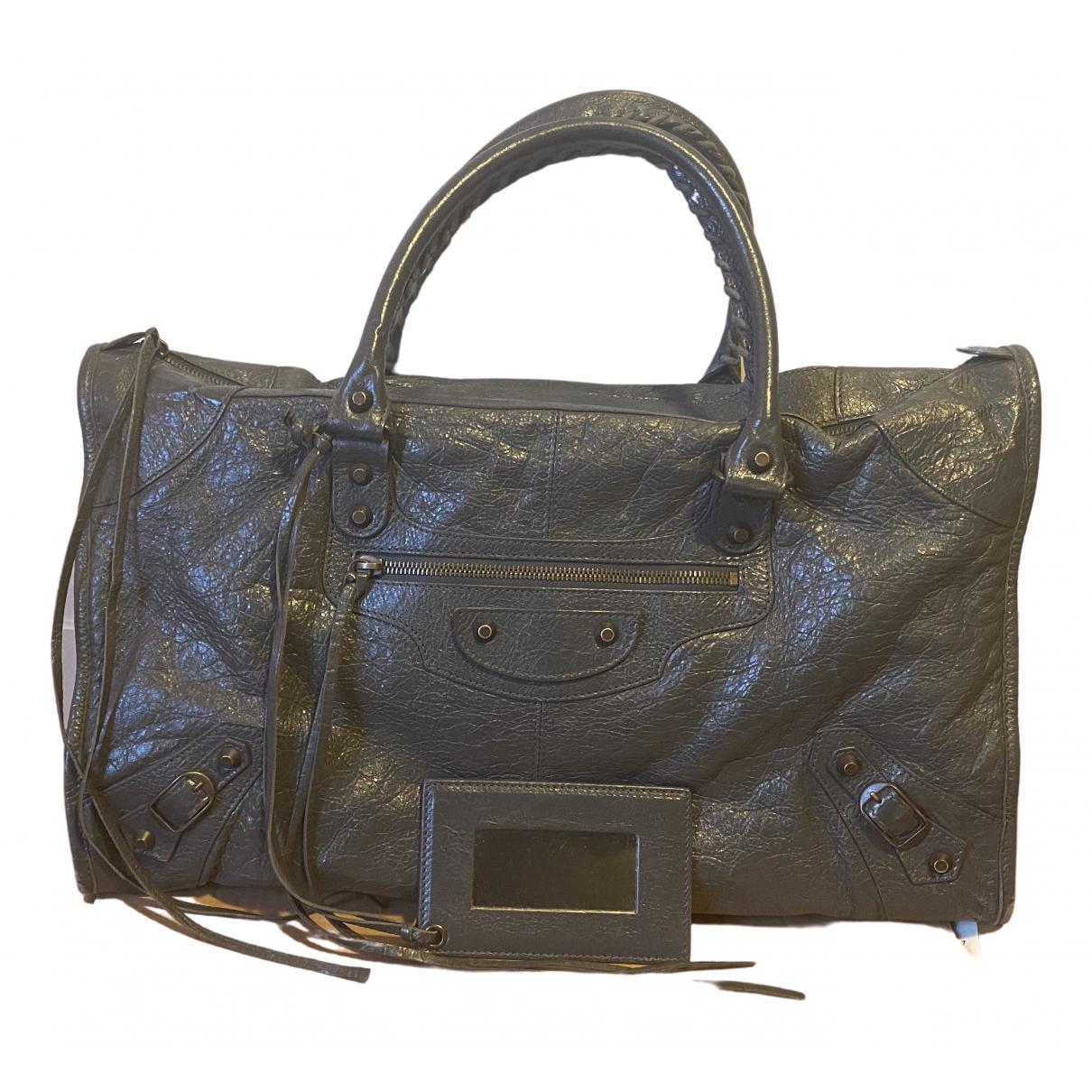 Balenciaga City Anthracite Leather handbag for Women \N