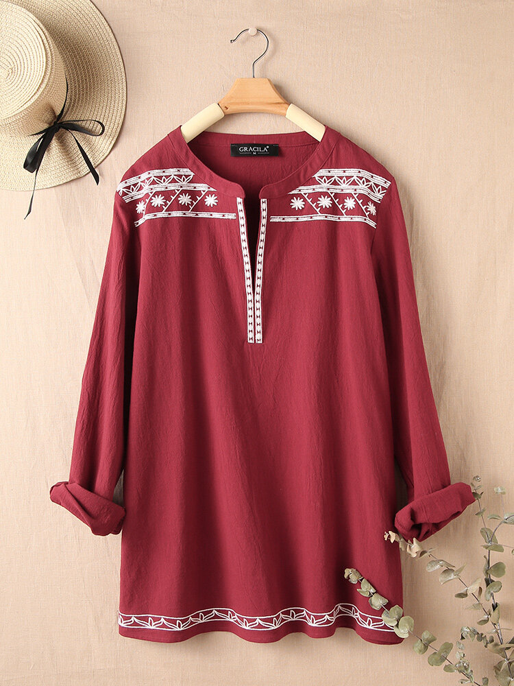 Embroidered Long Sleeves V-neck Casual Blouse For Women