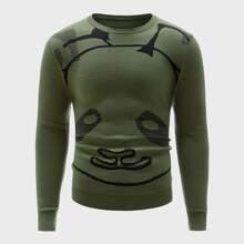 Pullover mit Karikatur Grafik und rundem Kragen