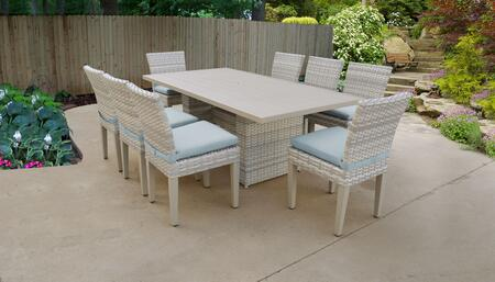 Fairmont Collection FAIRMONT-DTREC-KIT-8C-SPA Patio Dining Set With 1 Table  8 Side Chairs - Beige and Spa