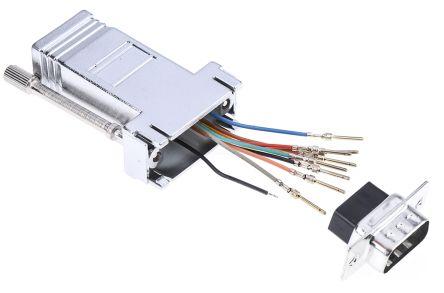 RS PRO 9 Way D-Sub Plug/RJ45 Socket Adapter, Shielded
