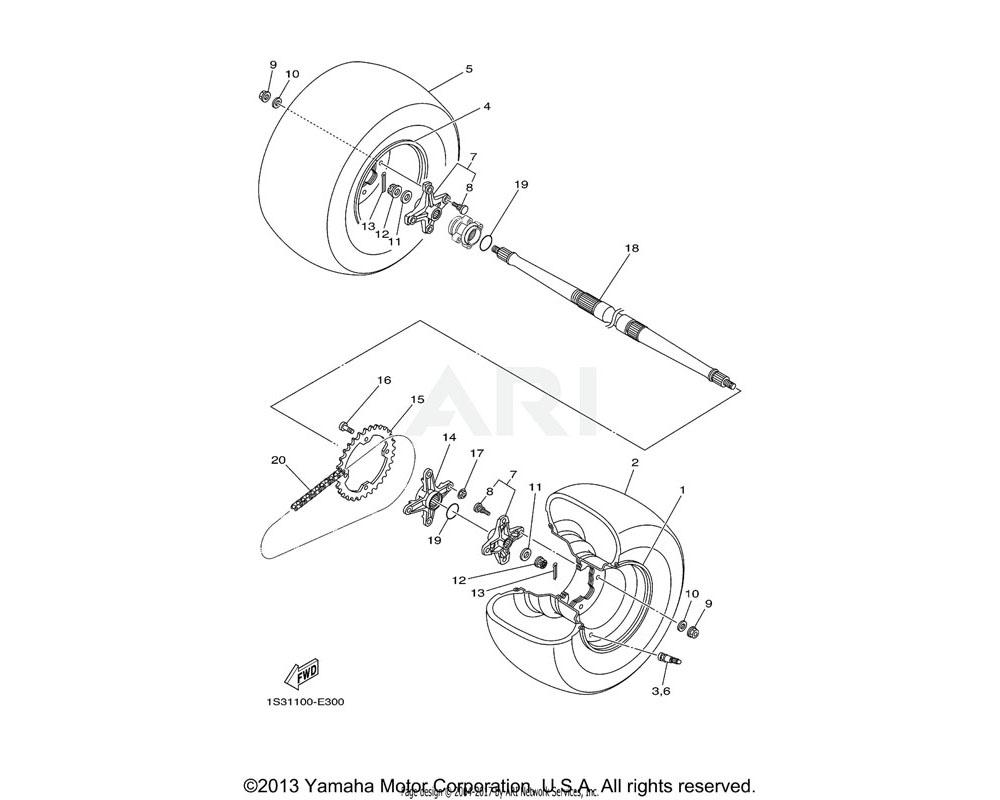 Yamaha OEM 94110-09012-00 TIRE(AT20X10-R9 KT345 T/L N) | DUNLOP