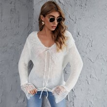 V-neck Lace Panel Lace Up Sweater