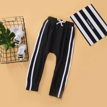 Toddler Boys Side Striped Bow Front Sweatpants