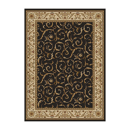 Como Scroll Traditional Oriental Area Rug, One Size , Brown