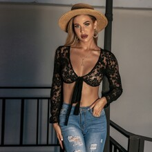 Flounce Sleeve Tie Front Lace Crop Top