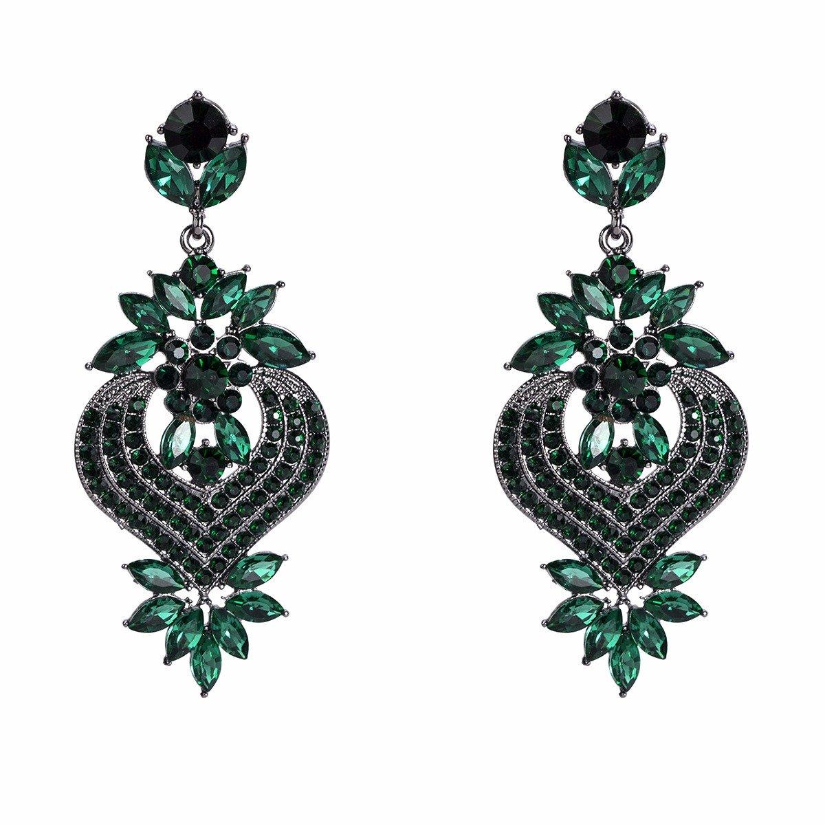 Bohemian Diamond Gem Ear Drop Elegant Red Retro Earrings Rhinestone Earrings For Women
