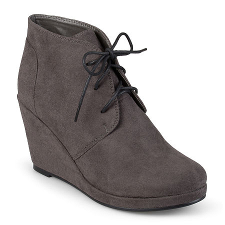 Journee Collection Womens Enter Wedge Booties, 11 Medium, Gray