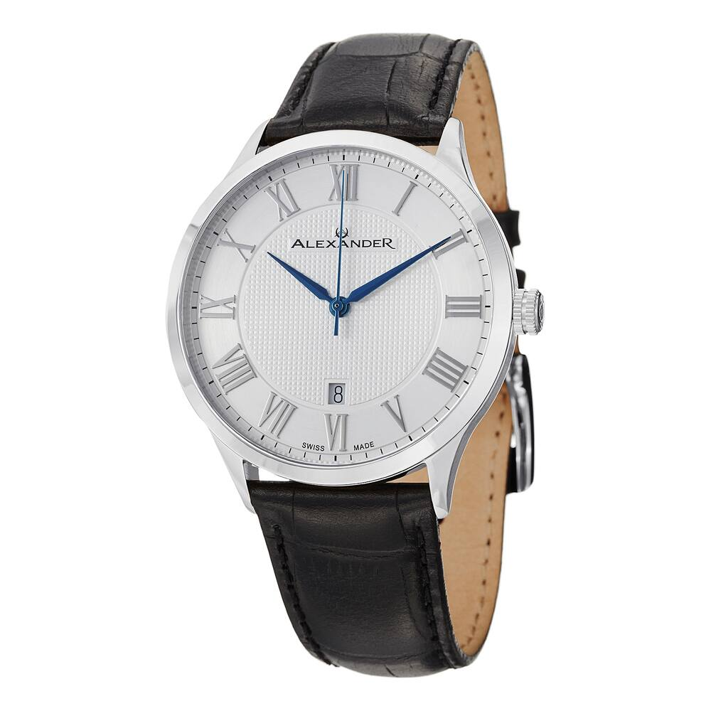 Alexander Men's  'Triumph' Silver Dial Black Leather Strap Swiss Quartz Statesman Watch (Men's Medium)