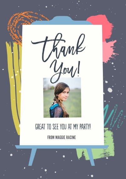 Kids Birthday Thank You 5x7 Cards, Premium Cardstock 120lb with Scalloped Corners, Card & Stationery -Put The Art In Party Thank You