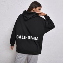 Kangaroo Pocket Letter Graphic Drawstring Hoodie