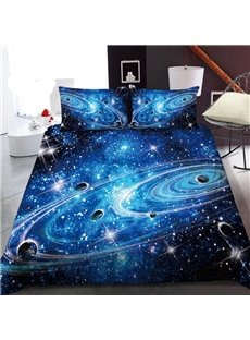 Planets In A Galaxy In Outer Space 3D Printed Polyester 1-Piece Warm Quilt