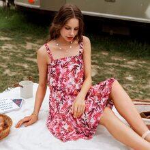 vestido de tirantes con estampado tropical de rayas