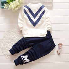 Toddler Boys Chevron & Letter Graphic Sweatshirt With Pants