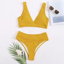 Plus Plain Rib High Waisted Bikini Swimsuit