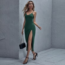 Cami Kleid mit V Kragen und Schlitz