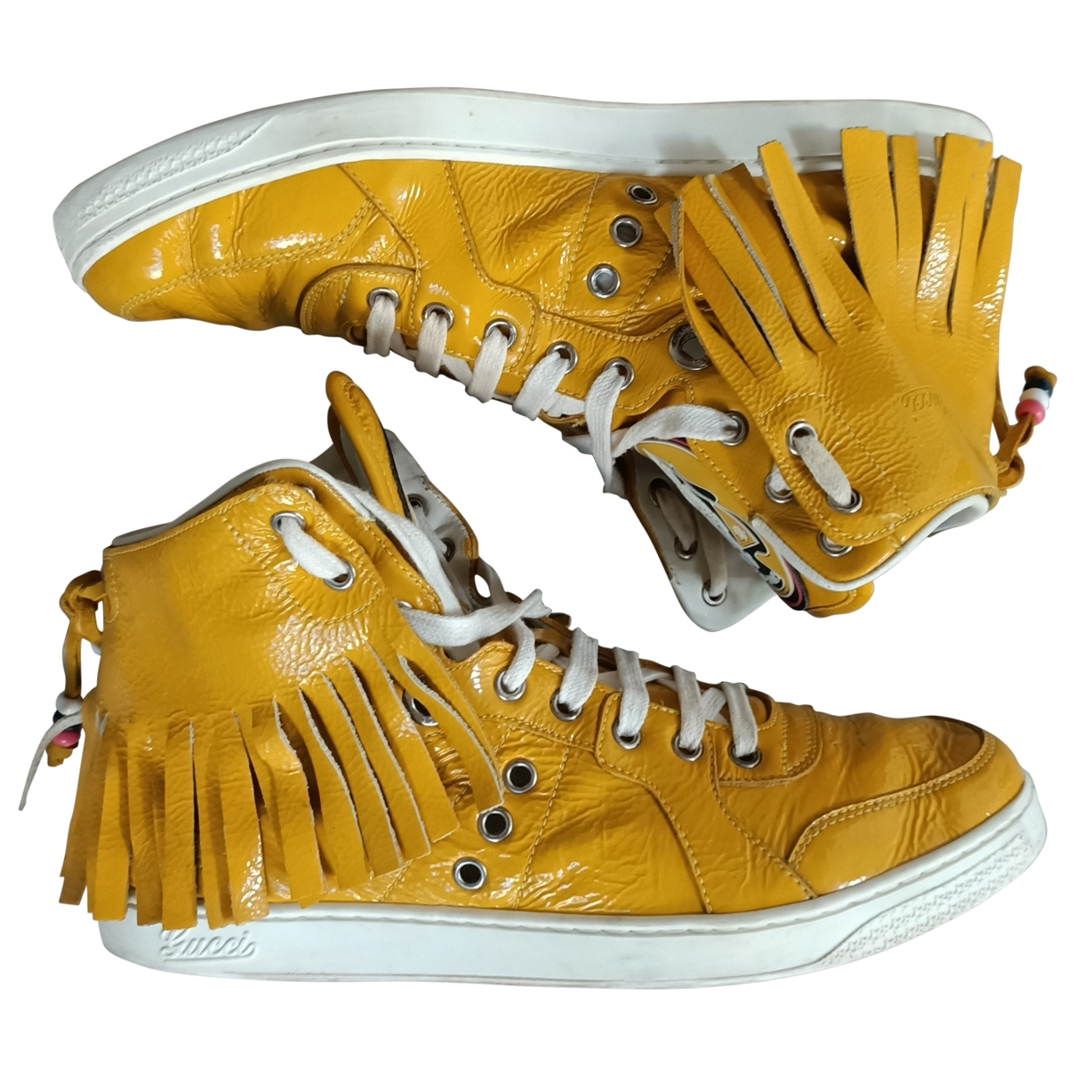 Gucci \N Yellow Patent leather Trainers for Men 7 UK