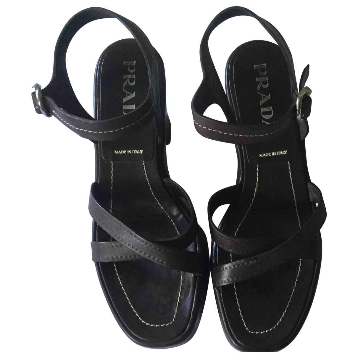 Prada \N Brown Leather Sandals for Women 37.5 EU