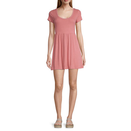 Arizona Freeform Short Sleeve A-Line Dress-Juniors, X-large , Pink