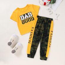 Kleinkind Maedchen T-Shirt mit Camo & Buchstaben Grafik und Jogginghose