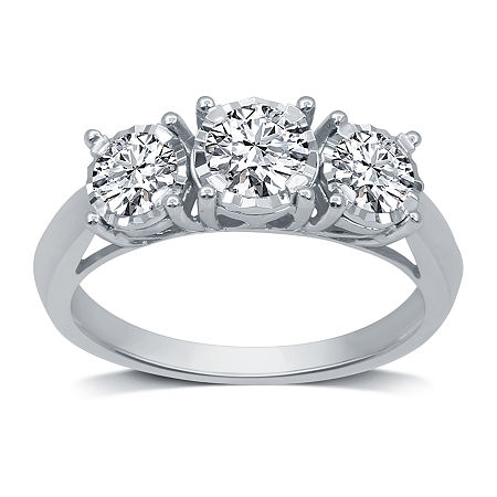 Womens 1 CT. T.W. Genuine White Diamond 10K White Gold 3-Stone Engagement Ring, 5 , No Color Family