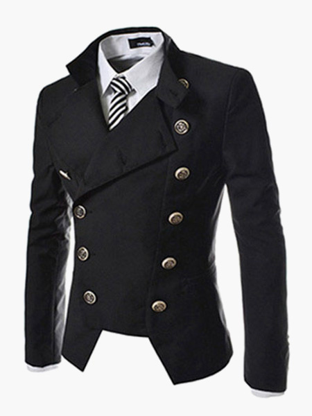 Milanoo Men Blazer Casual Double Breasted Stand Collar Blazer For Men Desiged Cut 2020 Suit Jacket