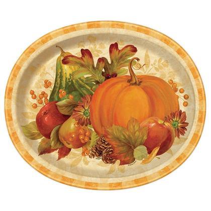 Thanksgiving récolte de citrouille tomber des assiettes en papier ovales, 12