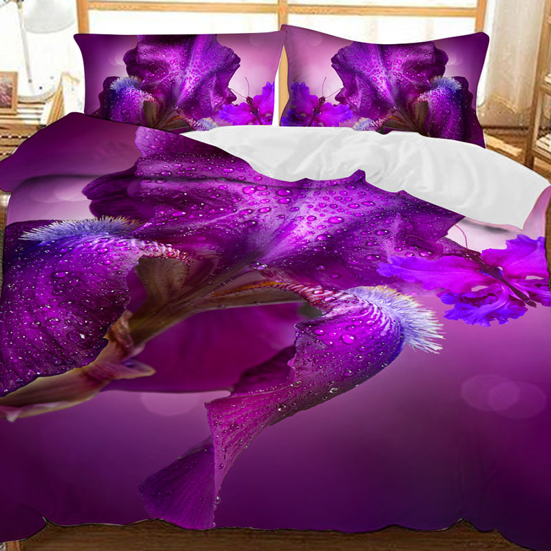 Purple Iris Japonica And Purple Butterfly Printed Polyester 3-Piece Bedding Sets/Duvet Covers