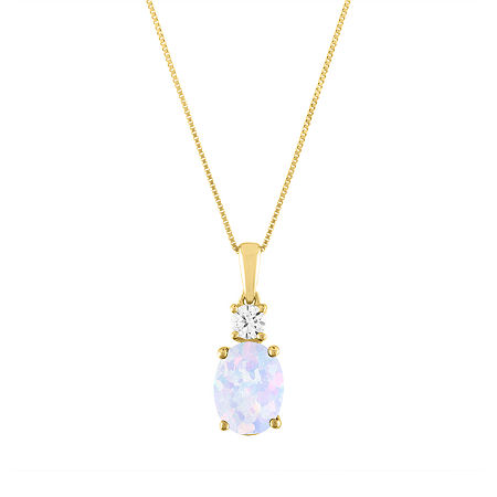 Womens Lab Created Multi Color Opal 10K Gold Pendant Necklace, One Size , No Color Family