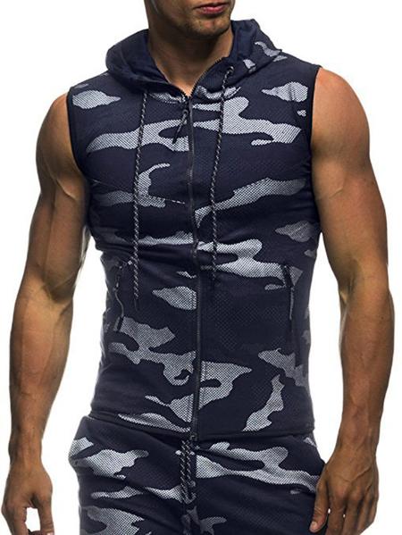 Yoins Men Camouflage Printed Sports Hoodies Casual Slim Sleeveless Hooded Vest