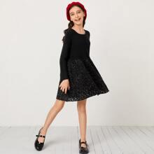 Strick Kleid mit Raglan Ärmeln und Glitzer