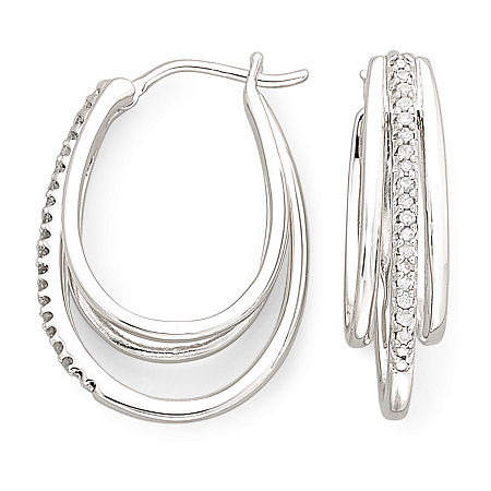 1/10 CT. T.W. Sterling Silver Diamond Multi Hoop Earrings, One Size , No Color Family
