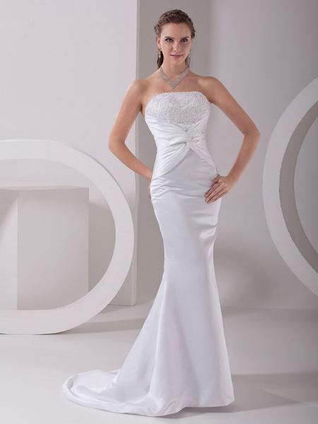 Milanoo Blanco vestido de novia con escote palabra de honor y cuentas de cola barrida