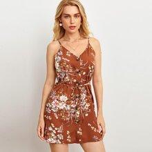 Botanical Print Button Front Cami Dress
