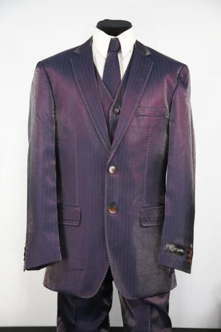 Mens Sharkskin Stitch Single Breasted Zoot Suit Ultraviolet White