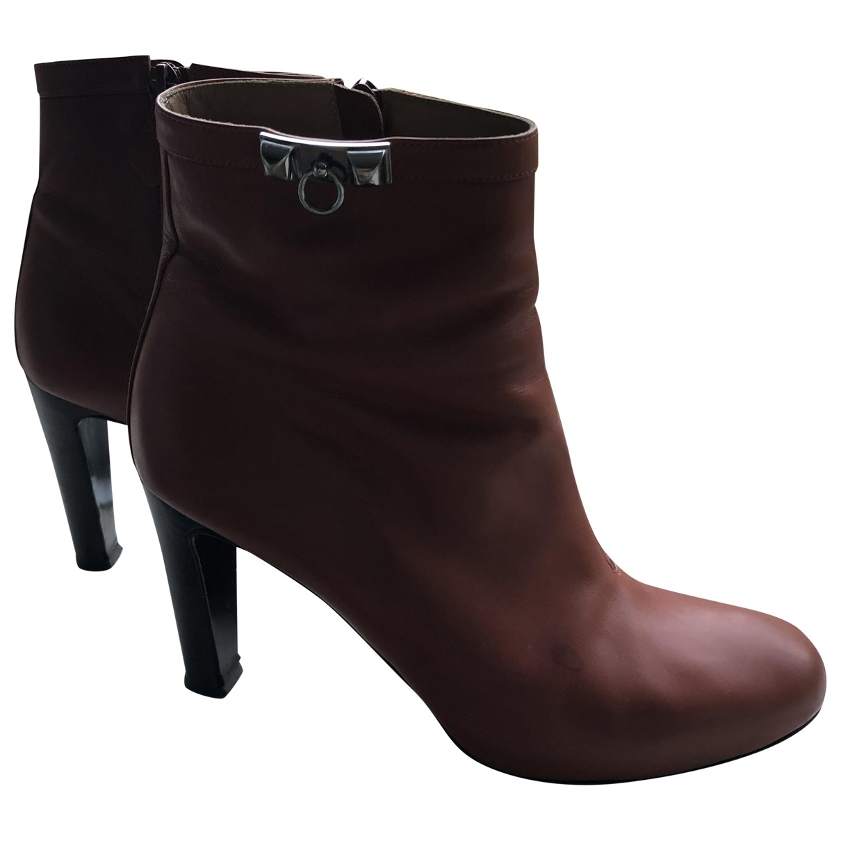 Hermès \N Camel Leather Ankle boots for Women 38.5 EU