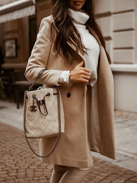Milanoo Abrigos cuello de descubierta de la mujer de manga larga de poliester color crudo invierno chaqueta de lana blanca