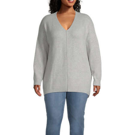 a.n.a-Plus Womens V Neck Long Sleeve Pullover Sweater, 2x , Gray