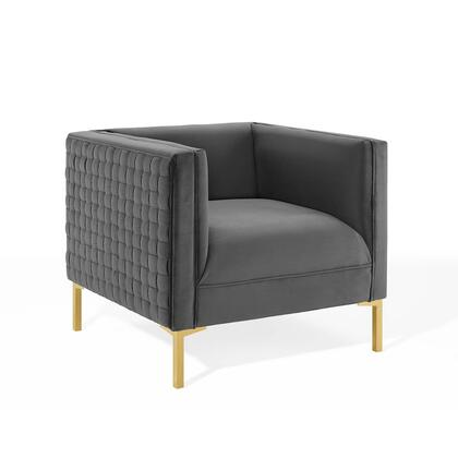 Resonate Collection EEI-3916-CHA Armchair with Exterior Checkered Motif  Solid Wood Frame  Brushed Gold Stainless Steel Legs and Stain-Resistant