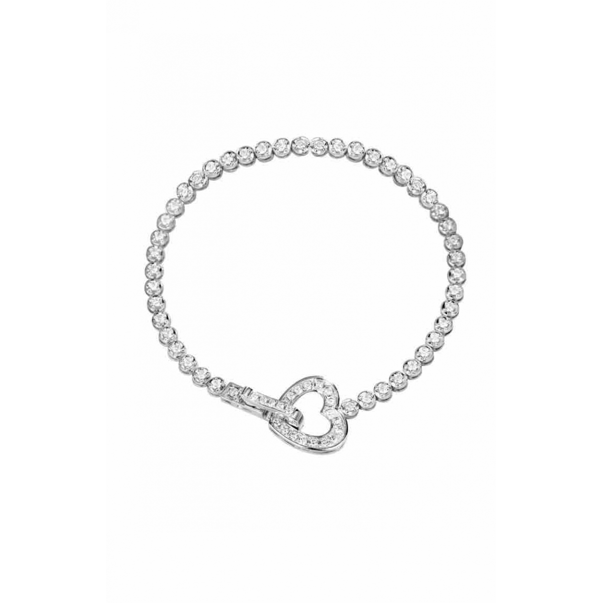 Non Signe / Unsigned Motifs Coeurs Armband in  Silber Weissgold