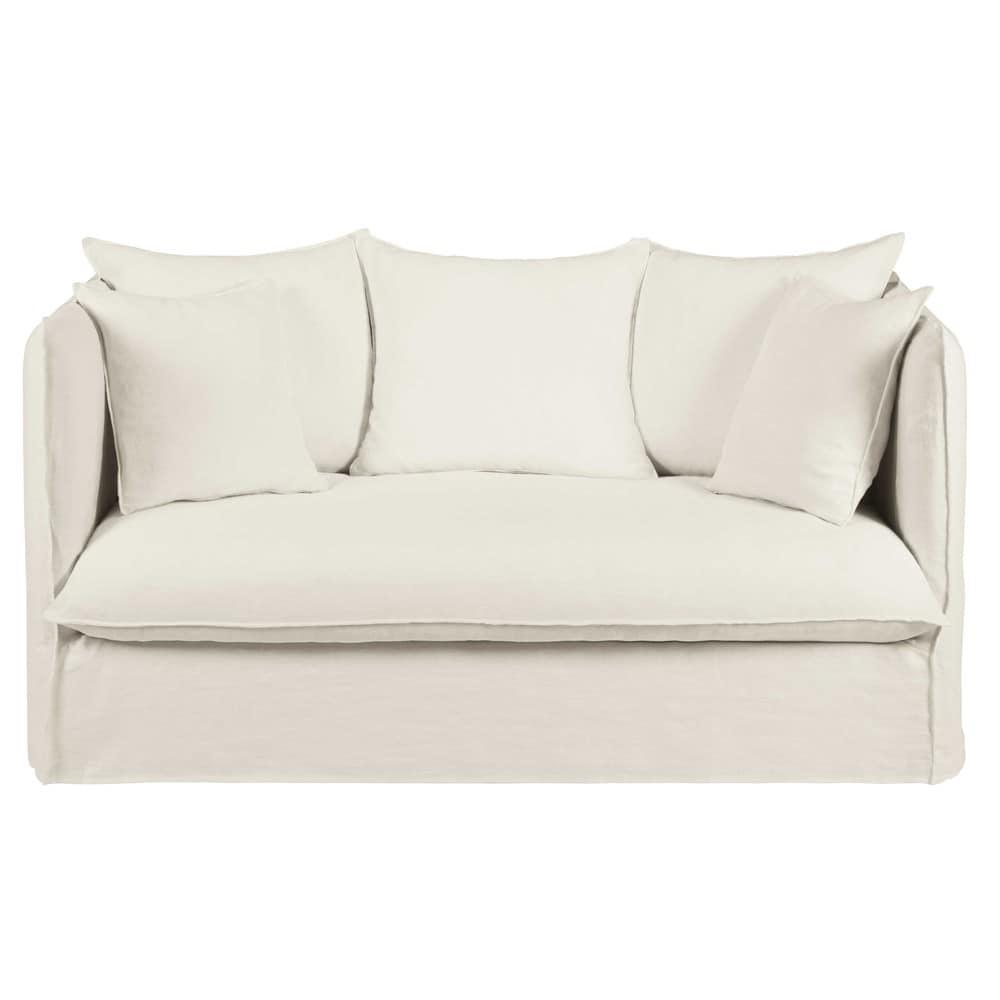 2-Sitzer-Sofa mit Bezug aus weissem gewaschenem Leinen Louvre